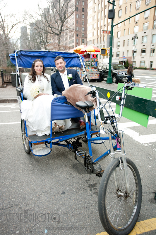 New York City Elopement, Central Park Pedicab, Central Park, Wedding Photo